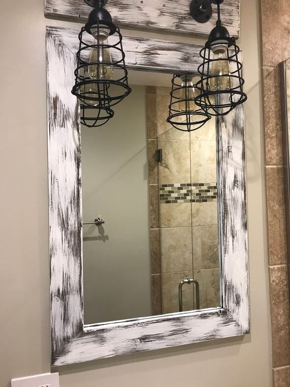 Mirror Whitewash Wood Frame Rustic Bathroom Wall Vanity Small Large