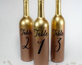 Wine bottle table number vinyl decals wedding centerpiece decorations
