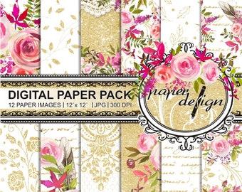 35% off 4 days sale watercolor flower digital paper pack - gold paper scrapbooking glitter paper Lace Rosen Watercolour - romantic bloom #49