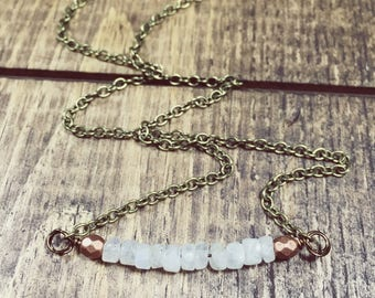 Moonstone Necklace, Boho Necklace, Moonstone Jewelry, Festival Jewelry, Dainty Necklace, Bohemian, Copper Necklace, Bead bar Necklace