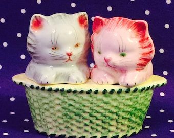 PY Anthropomorphic Kittens in a Basket Salt and Pepper Shakers made in Japan circa 1950s
