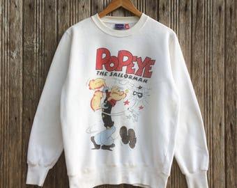 Rare!! Vintage movie Popeye The sailor man cartoon sweatshirt pullover medium size