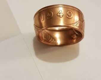 Coin Ring Irish Penny 1949 Size Q 1/2