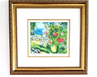 """Marc Chagall """"Paysage"""" Museum Framed and Matted, Signed & Numbered Limited Edition Giclee Print with Certificate of Authenticity"""