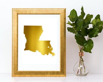 Real Gold Foil Louisiana State Map Gold Foil Gold Foil Print Louisiana State