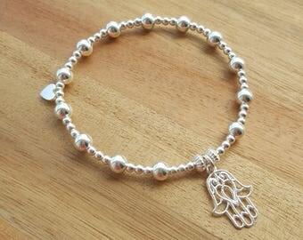 Sterling Silver Hamsa Bracelet, Silver Hamsa Bracelet, Silver Hamsa, Gift For Her