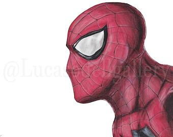 Spider-Man 9x12 in (Original) // Drawing / Marvel / Superhero / Mixed media / Amazing / Comicbook / Realistic