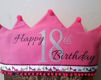 Happy 18th Birthday Chair Cap Cover-Pink and Pumps-Birthday Girl Chair Cover-Princess Crown Chair Cover