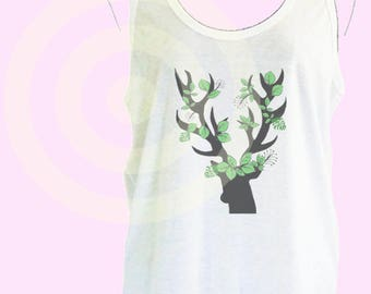 Deer tank top Women's tank tops S M L XL - women tops - Animal tank top - Deer head - Deer horn tank top