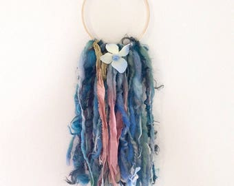 Art yarn wall hanging - hand dyed hand spun yarn - recycled sari silk ribon - flowers - Boho home decor - wall art