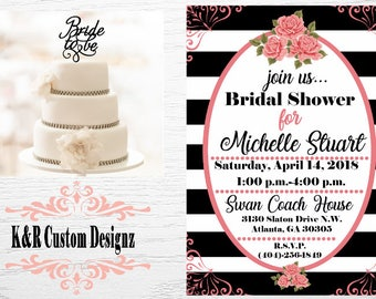 Black and White Bridal Shower Invitation,Black Invitation, Pink Invitation, Striped Flowers Invitations,Digital Download