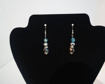 Blue Charcoal Gray Drop Earrings