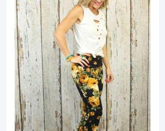 Gold Floral Rose Bell Bottom pants