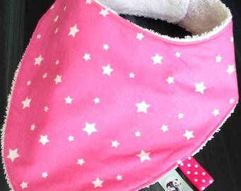 "Bib bandana or ""BAVANA"" pink star and white sponge."