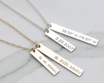 Dainty Personalized 2 pcs Bar Necklace, Coordinates Necklace, Gold Bar Necklace, Anniversary Gift, Bridesmaid Gift (OL 38.6-25.6 )