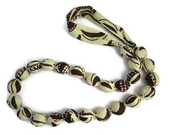 collier jaune, collier marron, collier ethnique, collier wax, collier tissu, collier perles, collier long, ethnique, wax, tissu africain