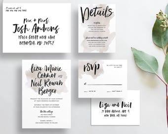 watercolor splash wedding invitations // taupe watercolor wedding invites // brush lettering // neutral invitations // printable // custom