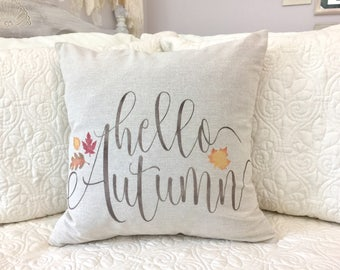 Hello Autumn pillow cover - harvest pillow - fall decor - fall pillow - hello fall - autumn decoration - fall decoration - fall leaves