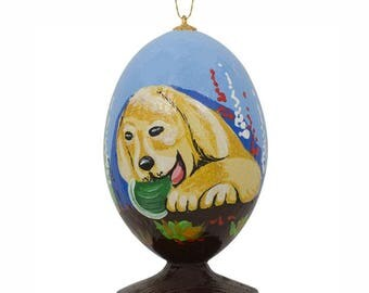 "3.5"" Yellow Labrador Retriever Dog Puppy in the Meadow Wooden Christmas Ornament"