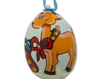 "3"" Reindeer and Bag of Gifts Wooden Christmas Ornament"