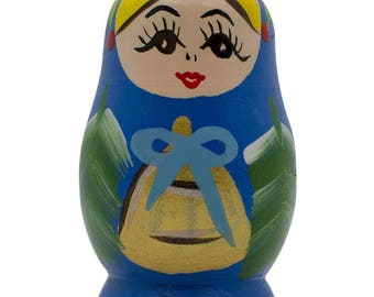 Blue Wooden Russian Nesting Doll Fridge Magnet
