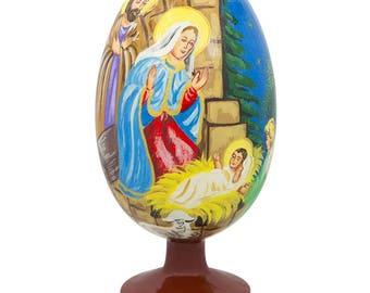 "4.75"" Virgin Mary with Jesus Nativity Wooden Figurine"