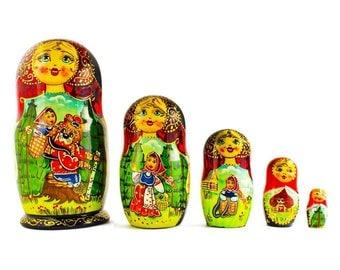 6.5'' Set of 5 Red Riding Hood Wooden Nesting Dolls Matryoshka