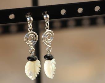 White Leaf, Spiral, Dangle Earring