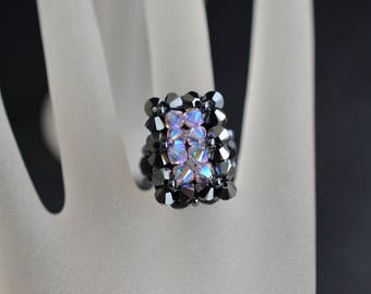 Ring Swarovski rectangle hematite 2x-rosaline ab2x medium size