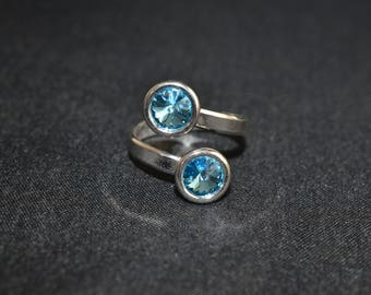925 sterling silver double cabochon with aquamarine 6 mm