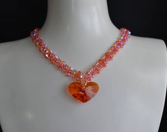 Crystal Swarovski crystal ab2x heart Crazy crystal astral pink and tangerine necklace ab2x