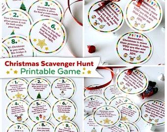 Christmas Scavenger Hunt Printable Game   Holiday Activity for Kids   Christmas Game