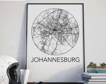 Johannesburg, South Africa Minimalist City Map Print