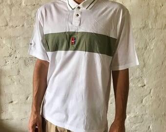 Vintage Nike Tennis Shirt / Polo Shirt / T-shirt / White / Large / 90's