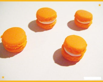4 cabochons orange macarons in polymer clay - jewelry - polymer decoration
