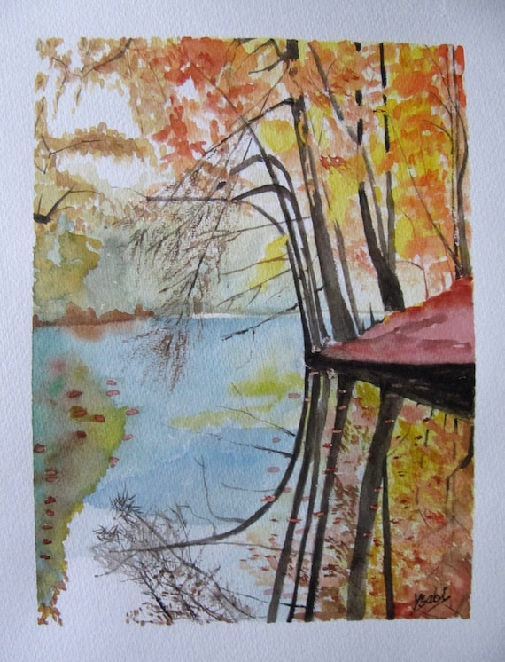 Peinture Aquarelle Reflets Dans L 39 Eau Du Lac En