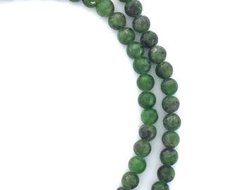 "Russian Chrome Diopside Semi-Precious 4mm Round Siberian Green Gemstone Bead Heart Chakra Stone Jewelry Making Supplies DIY Full 16"" Strand"