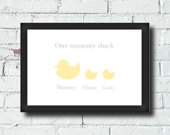 personalised family mummy duck print free shipping