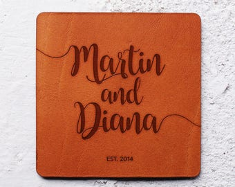 Leather anniversary gift, Wedding coasters favors, Leather coasters, Leather gifts, Newlywed first Christmas,Custom wedding gifts for couple