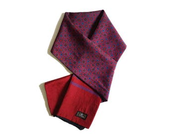 Men's pure silk tassels long scarf in red colorful.Vintage printed double silk scarf.Gentlemen neck scarf.P74208