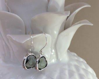 Grey glass gem earrings, Glass Pendant Earrings, Glass gemstone earrings, drop earrings, dangle earrings, gifts for her