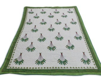 Double Bed Hand Block Printed Green Color Quilt in Tree Design Size 90x108 Inch