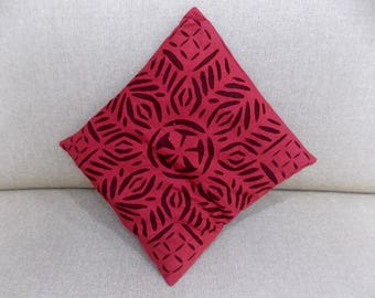 """Indian Pure Cotton Cushion Cover Home Cut Work Decorative Red Color Size 17x17"""""""