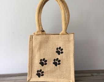 Dog paw jute lunch tote bag. Gift bag. Dog lover gift