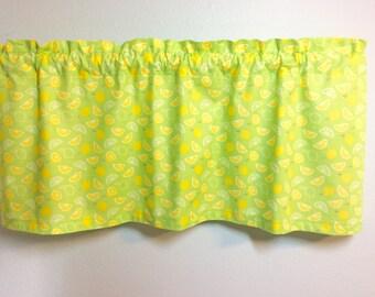 Lemon Window Valance-Citrus Curtains-Lime Valance-Fruit Valance-Kitchen Curtains-Beach Valance-Lake Curtains