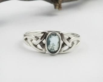 Blue Topaz Ring~Silver Celtic Natural Blue Topaz Ring~Blue Topaz Celtic Trinity Knot Promise Ring~December Birthstone Jewelry~Gift for Her