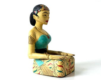 Vintage Asian Carved Wood Figurine - Brightly Painted Kneeling Female Figure - Wooden Sculpture - Carved Wood Woman - Asian Decor