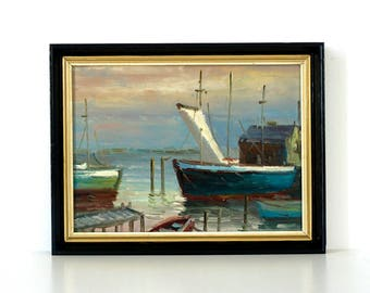 Mid Century Harbour with Fishing Boats - Vintage Original Oil Painting - Vintage Boat Painting - Harbor Painting - Abstract Seascape