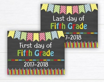Back to School Sign, School Sign Prop, First Day of Fifth Grade Sign, Chalkboard Sign, First Day of School, 5th Grade,  Instant Download