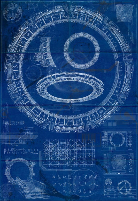 Stargate sg 1 blueprint aged stargate print like this item malvernweather Gallery